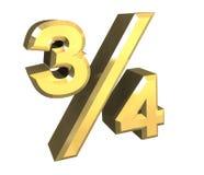 3/4 boomkwart in goud   Royalty-vrije Stock Afbeelding