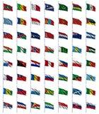 3 4 flaggor ställde in världen Royaltyfri Bild
