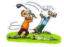 3个动画片高尔夫球编号球员系列 库存图片