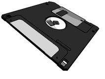 3.5 floppy disk. 3D-modeled 3.5 floppy disk Royalty Free Stock Photo