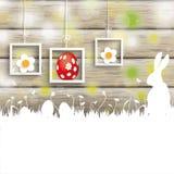 复活节卡片兔子木头3个框架 免版税库存照片