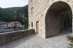 皮奥比科(3月),历史的村庄 免版税库存照片