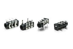 3.5mm插孔的四个插座连接器 库存照片