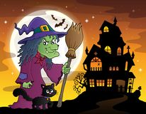 Ведьма с изображением 3 темы кота и веника Стоковые Изображения