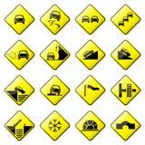3 8 glansowany drogowy setu znaka wektor Zdjęcia Stock