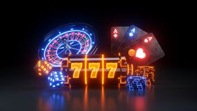Free 3 Aces Online Casino Gambling Concept, Casinos Slot Macine Concept - 3D Illustration Stock Image - 191039751