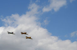 3 Aircraft in Formation. Three 2nd World War Fighter Aircraft in formation stock photo