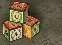 3 Alphabet Building Blocks. 3D illustration of a Childs Alphabet Blocks Stock Image