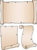 3 alte unbelegte Papiere Stockbilder