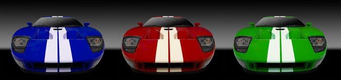 3 amerikanska bilsportar Arkivbilder