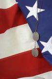 3 amerykańskiej flagi etykietki psa Zdjęcia Stock