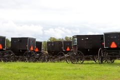3 amish buggies Arkivbilder