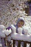 3 anos de menina idosa no inverno Imagens de Stock Royalty Free