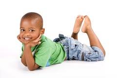 3 ans adorables de noir ou garçon d'Afro-américain Photo stock