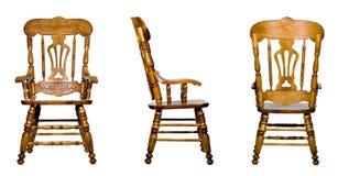 3 antykwarskich krzesła kolażu odosobnionych widok drewnianego Obrazy Stock