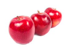 3 apples. Three red apples stand in one row on a white background Royalty Free Stock Photos