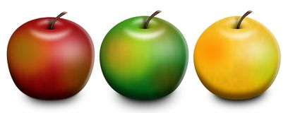 3 Apples Raster Illustration Stock Photos