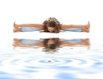 3 ashtanga沙子白色瑜伽 免版税图库摄影