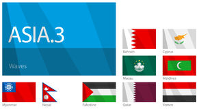 3 asiatiska landsflaggor part våg Fotografering för Bildbyråer