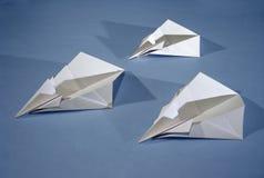 3 aviones de papel Imágenes de archivo libres de regalías