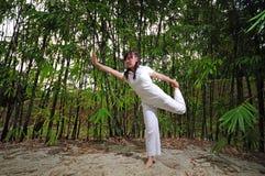 3 azjatykcich ćwiczyć kobiety drewien joga Zdjęcia Royalty Free