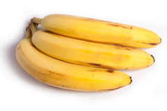 3 Bananas. 3 Fresh Bananas fruit on white background royalty free stock image