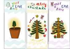 3 banners with christmas tree. Fur-toys and places for text Stock Photos