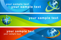 3 banners with globes. Vector file Royalty Free Stock Photos