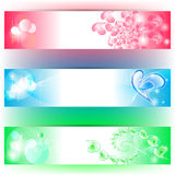 3 Banners with hearts and colours. 3 colourful banners with hearts and bubbles Stock Photos