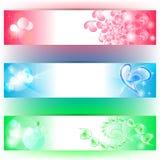 3 banners met harten en kleuren Stock Foto's