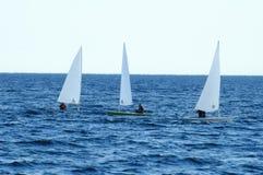 3 barcos de vela del kajak Imagen de archivo libre de regalías