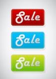 3 barwionych sprzedaży ustalonych etykietki ilustracja wektor
