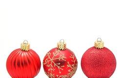 3 baubles red Στοκ Εικόνα