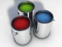 3 bidons vibrants de peinture de couleurs Images libres de droits