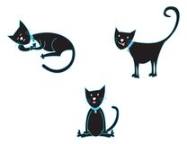 3 black cats Stock Photo