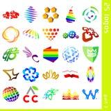 3 blandade logoer stock illustrationer