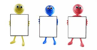 3 Blank Advert Boards With Smilies Royalty Free Stock Photography