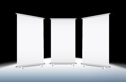 3 Blank roll-up. Banner against a black background with paths Stock Photography