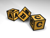 3 blocchetti di ABC Immagine Stock