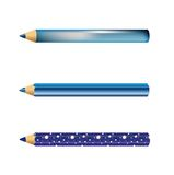3 blue pencils. Three kinds of blue pencils with reflexes, shades and decorations Royalty Free Stock Images