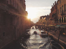 3 Boat on Canal during Sunset Stock Photos