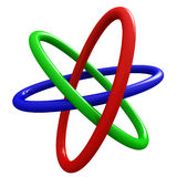 3 Borromean Rings. Rendering of Borromean Rings on white background Royalty Free Stock Photos