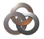 3 boucles connectées en métal Photos libres de droits