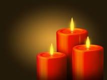 3 bougies rouges Photos stock
