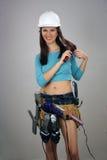 3 brunetki kobiecy rzeczy toolbelt Obraz Stock