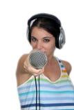 3 brunetki hełmofonów mikrofon Zdjęcie Stock