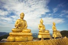 3 buddhas против неба стоковое фото rf