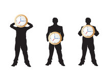 3 businessman holding the clock. The concept of business and time Stock Photography