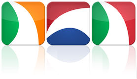 3 button flag set (IRL,NED,ITA). Illustration with 3 button flags: Ireland, Netherlands and Italy stock illustration