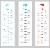 3 calendarios verticales para 2014 Imágenes de archivo libres de regalías